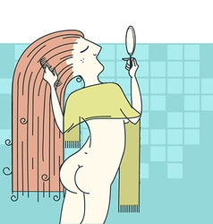 Woman combing hair in her bathroom vector