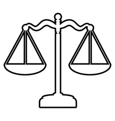 Scales balance line icon vector