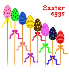 Easter eggs on sticks arranged as ladder vector