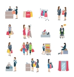 Woman shopping flat icons vector
