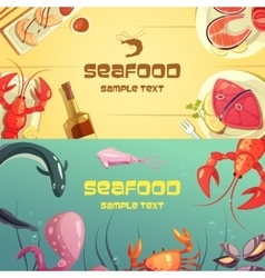 Seafood cartoon banners vector