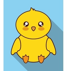 Kawaii chicken icon cute animal graphic vector