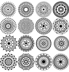 A set of beautiful mandalas and lace circles vector image