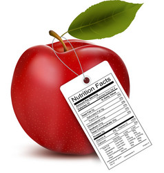 An apple with a nutrition facts label vector