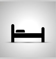 Bed silhouette side view simple black icon vector