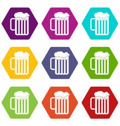 beer mug icon set color hexahedron vector image vector image