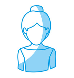 blue silhouette with half body of faceless female vector image
