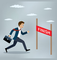Businessman running to the finish line vector