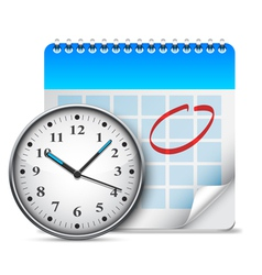 Calendar and clock vector image vector image