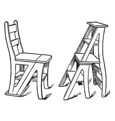 Combination chair and stepladder vintage vector
