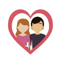 Couple love frame heart vector