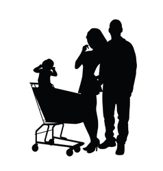 couple with baby silhouette vector image vector image