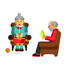 Daily activities of grandparents grandmother vector