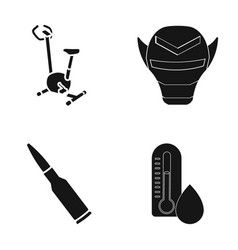 Exercise bikes mask and other web icon in black vector