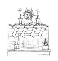 Fireplace with socks and christmas vector