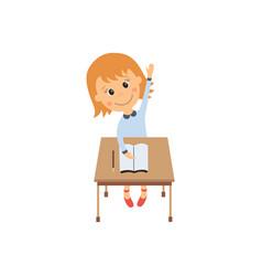 flat girl sitting at desk raising hand vector image vector image