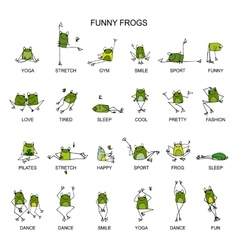 Funny frogs collection sketch for your design vector image vector image