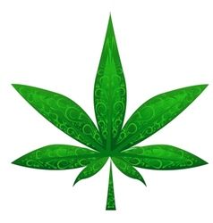 glass marijuana leaf vector image
