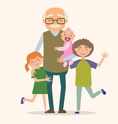 Grandfather with her grandchildren vector image vector image