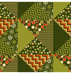 Green color abstract background in patchwork style vector