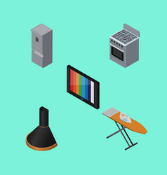 Isometric technology set of cloth iron air vector
