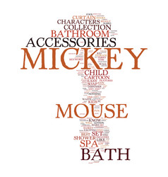 Mickey mouse bath accessories text background vector