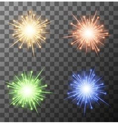 modern fireworks set on sample background vector image