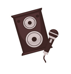 Musical loudspeakers and microphone isolated on vector