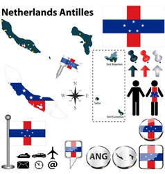 Netherlands Antilles map vector image vector image