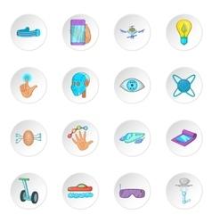 New technologies icons set cartoon style vector
