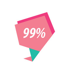 Ninety nine percent label pink and green vector