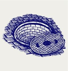 Opened street manhole vector