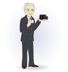 Portrait of old man with retro camera vector image