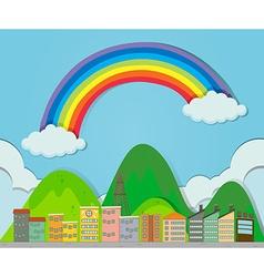 Rainbow over the city vector