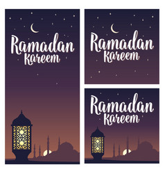 ramadan kareem lettering with lamp minarets vector image vector image