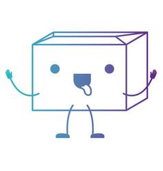 Sealed kawaii animated cardboard box in degraded vector