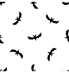 Seamless pattern background with bats Black on vector image