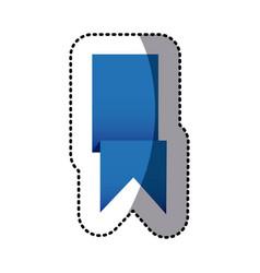 sticker blue shiny satin ribbon icon decorative vector image vector image