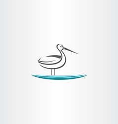 Stork in water icon vector