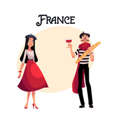 two french characters woman dressed in parisian vector image vector image