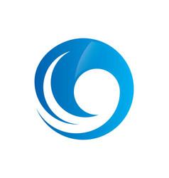 Water wave round swirl logo vector