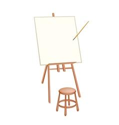 Wooden artist easel on white background vector