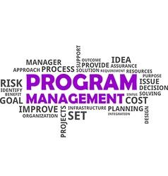 Word cloud program management vector