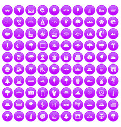 100 view icons set purple vector