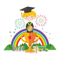 Graduation student to success education concept vector