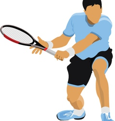 Tennis players in action vector image