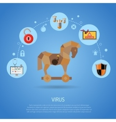 Cyber crime concept with virus vector
