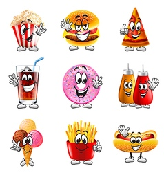 Funny cartoon fastfood icons set vector