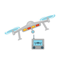 Drone quadcopter with camera and remote control vector