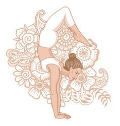 Women silhouette arm balance scorpion yoga pose vector